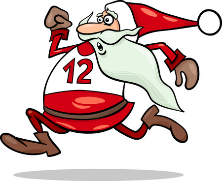 23114052 - cartoon illustration of funny running santa claus character